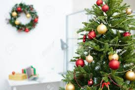 Decorated Christmas Tree In Office