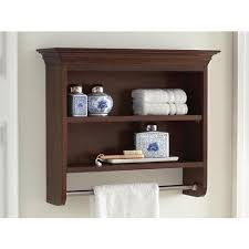 2 shelves brown bathroom wall cabinet