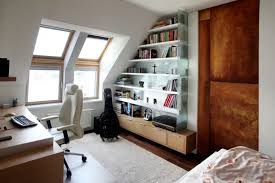 small white attic home office design with corner attic office ideas