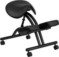 ergonomic kneeling chair with black saddle seat