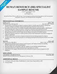 Free Human Resource HR Specialist Resume Resume Samples Across Fascinating Employment Specialist Resume