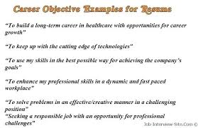 Sample Career Objectives Examples For Resumes Resume Objective Entry