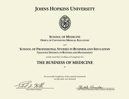 Johns Hopkins University Gold Embossed Certificate Frame In
