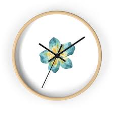 wooden wall clock with watercolor lilly print make every second count with this minimalistic designed