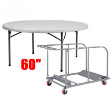 10 titanpro 60 round plastic folding table with universal table cart bundle eventle com
