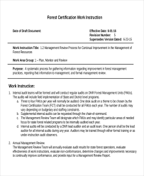 forest certification work instruction template