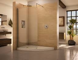 Bathroom:Minimalist Walk In Showers Without Doors With Cream Tile Wall And  Pallet Wooden Bench