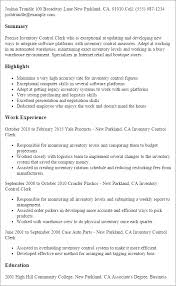Resume Templates: Inventory Control Clerk