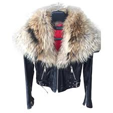dsquared2 coat fur collar coats outerwear leather black ref 22455