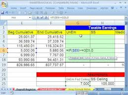 Payroll Tax Worksheet Highline Excel Class 34 If Function Formula Payroll Formula