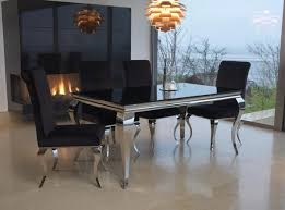 vida living louis black glass top rectangular fixed top dining rh choicefurnituresuper co uk black marble dining table and 6 chairs black gloss