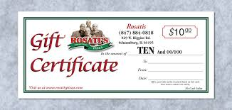 Gift Certificate Designer Gift Certificate Designrosatis Pizza Controlled Color Inc