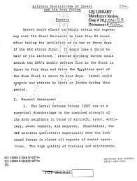 "analysis of the arab i war central intelligence  first page of the draft of the ""special estimate"" that predicted the outcome of the war"