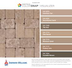 I found these colors with ColorSnap Visualizer for iPhone by Sherwin- Williams: Interface Tan (SW Sensational Sand (SW Tiki Hut (SW Oak Barrel  (SW Mexican ...