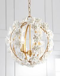 Neiman marcus lighting Semi Flush Neiman Marcus Ceramic Flower Pendant Light Neiman Marcus