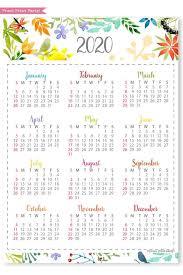 One Sheet Calendar 2020 2020 One Page Calendar Printable Watercolor