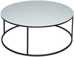 westminster white glass coffee table round with black base