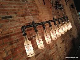 custom made industrial style chandelier bottle light