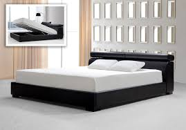 black leatherette platform bed w storage