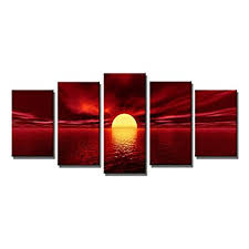 wieco art red sun large modern 5 panels seascape sea giclee paintings canvas prints wall art gallery wrapped pretty ocean sunset pictures artwork for  on large white and gold wall art with wall art blue gold white amazon