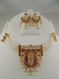 indian jewelry made with pearl and red and white stone pendant choker necklace set us 40 30