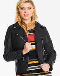 simply be women s black faux leather biker jacket
