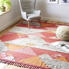 wool kilim rug reading nook ideas with wool rug and gray fabric chair and pouffe wool kilim rug