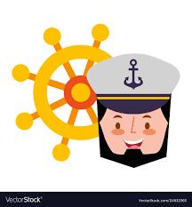 Captain Sailor Face Cartoon Portrait