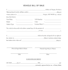 Automobile Bill Of Sale Form Bill Of Sale Template