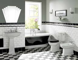 a gorgeous art deco inspired bathroom featuring chequered tiles and 20s detailing