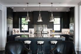 remarkable kitchen lighting ideas black refrigerator. Kitchen : Black Leather Chair Stained Island Quartz Countertop White Cabinet Referigator Dome Chrome Pendant Lamp Cooking Set Remarkable Lighting Ideas Refrigerator E