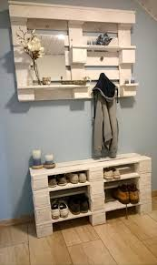 Wooden pallet shelf and shoe rack  Pallet StorageEntryway ...