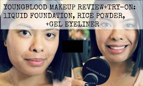 youngblood makeup review try on liquid foundation rice powder gel eyeliner