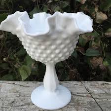 vintage fenton white milk glass bowl hobnail double crimped white milk glass bowl w