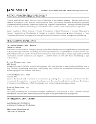 fashion buyer resumes purchasing specialist resume