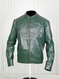 supperman green leather jacket