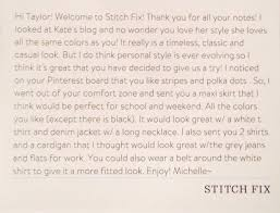 Stitch Fix Notes Note From The Stylist In My First Stitch Fix Stitch Fix