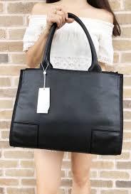 tory burch tory burch ella canvas leather large tote laptop bag black com