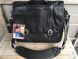 canyon outback leather messenger bag laptop briefcase black shoulder strap new