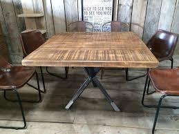 vine industrial rustic reclaimed plank square top dining table tripod steel base handmade uk