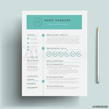Creative Cv Resume Template Teal Green Background Color