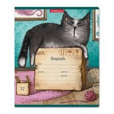 <b>Тетрадь</b> 12 листов, линейка, <b>Erich Krause Cat &</b> Box, картонная ...