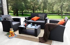 baner garden n87 4 pieces outdoor furniture complete patio cushion wicker p e rattan garden