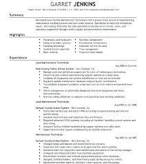 Maintenance Mechanic Resume Sample Building Maintenance Technician Resume Free Maintenance Job