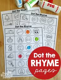Worksheets - Dot the Rhyme - This Reading Mama