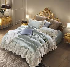 light green beige luxury french flair lace embroidery silk cotton wedding bedding set duvet cover bed linen bed sheet pillowcase black duvet covers duvet