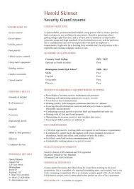 Sample Resume For Security Guard Student Entry Level Security Guard Resume Template