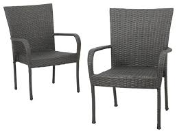 sultana outdoor gray wicker stackable club chairs set of 2