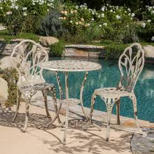 Garden & Patio <b>3 Piece</b> Tulip Cast Aluminium Patio <b>Bistro</b> Garden ...