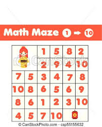 Maze Game Mathematics Labyrinth With Numbers Counting From One To